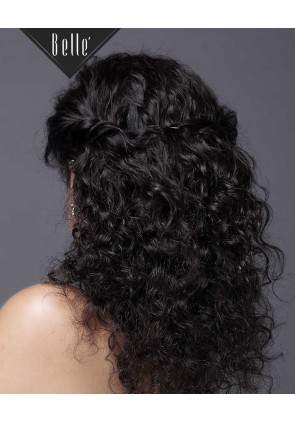 Natural Curl Top-quality Indian Virgin Hair Swiss Silk Top Full Lace Wig