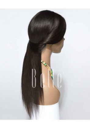 Silky Straight 100% Best Peruvian Virgin Hair Full Lace Wig Free-styling