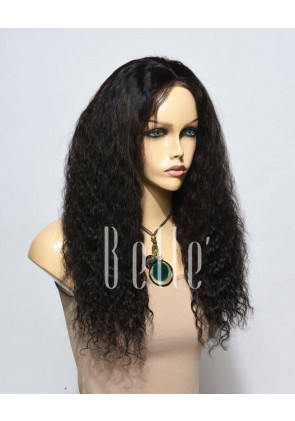 Stock Spanish Wave Hairstyle Brazilian Virgin Hair Silk Top Lace Front Wig Free Parting