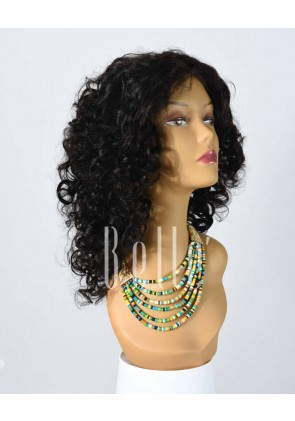 100% Premium Human Hair Mongolian Virgin Hair Silk Top Lace Front Wig Spiral Curl